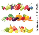 fruits vegetables and berries... | Shutterstock . vector #111199820
