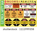 set of electrical safety sign   ... | Shutterstock .eps vector #1111999358