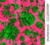 big green roses on a pink... | Shutterstock .eps vector #1112005589