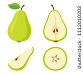 green pear cartoon set. cross... | Shutterstock .eps vector #1112010203