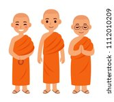 cute cartoon thai buddhist... | Shutterstock .eps vector #1112010209