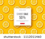 summer sale banner with sliced... | Shutterstock .eps vector #1112011460