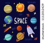 set of cartoon space objects....   Shutterstock .eps vector #1112012429