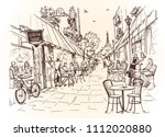 street cafe in the city.... | Shutterstock .eps vector #1112020880
