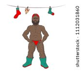 the guy is naked in boots and... | Shutterstock .eps vector #1112031860