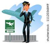 pilot wear uniform with tie... | Shutterstock .eps vector #1112036849