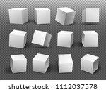 set of white blocks. 3d  icons... | Shutterstock .eps vector #1112037578
