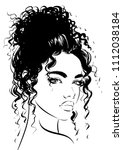 attractive woman with curly hair   Shutterstock .eps vector #1112038184