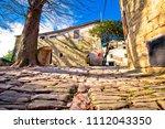 cobbled village of groznjan on...   Shutterstock . vector #1112043350