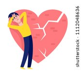 upset man in blue and yellow... | Shutterstock .eps vector #1112048636