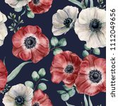 watercolor anemone seamless... | Shutterstock . vector #1112049656