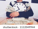 watch and cash. time is money.... | Shutterstock . vector #1112049944