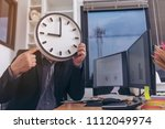 the concept of saving time on... | Shutterstock . vector #1112049974