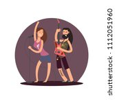 rock guitarist and female cute...   Shutterstock .eps vector #1112051960