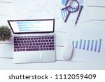 a desk  white table with a... | Shutterstock . vector #1112059409