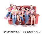 little kids watching movies... | Shutterstock . vector #1112067710