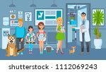 Stock vector cartoon people with ill pets sit at reception turn to veterinarian vet clinic vector illustration 1112069243