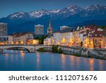 Grenoble. Cityscape image of Grenoble, France during twilight blue hour.