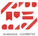 new tag ribbon and banner... | Shutterstock .eps vector #1112082710