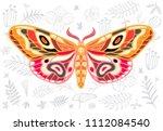 night tropical moths hawkmoth... | Shutterstock .eps vector #1112084540