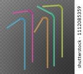 straw for beverage. drinking... | Shutterstock .eps vector #1112085359