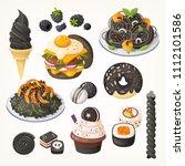 squid ink pasta  charcoal ice... | Shutterstock .eps vector #1112101586