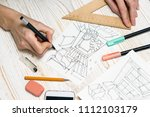 interior designer working on a... | Shutterstock . vector #1112103179
