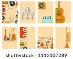 retro equipment music set...   Shutterstock . vector #1112107289