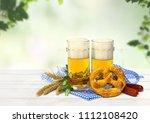 bavarian pretzels  wheat ears ... | Shutterstock . vector #1112108420
