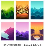 nature brochure cards set.... | Shutterstock . vector #1112112776