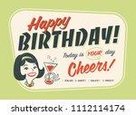 vintage style happy birthday... | Shutterstock .eps vector #1112114174