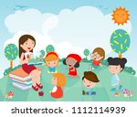 teacher telling a story to... | Shutterstock .eps vector #1112114939