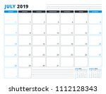 calendar template for july 2019.... | Shutterstock .eps vector #1112128343