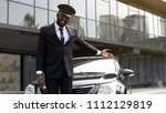 luxury taxi service driver...   Shutterstock . vector #1112129819