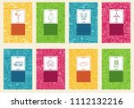 set of linear travel style...   Shutterstock . vector #1112132216