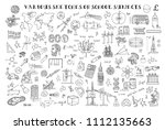 various sketches on school... | Shutterstock .eps vector #1112135663