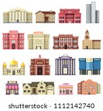 flat colorful city buildings... | Shutterstock . vector #1112142740