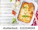 traditional italian lasagna... | Shutterstock . vector #1112144243