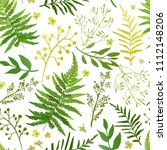 seamless pattern with leaves.... | Shutterstock .eps vector #1112148206