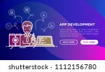 app development concept with... | Shutterstock .eps vector #1112156780