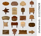set of western planks wooden... | Shutterstock .eps vector #1112158658