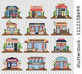 set of vector flat facade icons....   Shutterstock .eps vector #1112158694