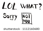 hand drawn lettering set lol ... | Shutterstock . vector #1112160680