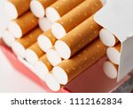 cigarettes in a pack close up...   Shutterstock . vector #1112162834