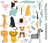 set of cartoon african animals... | Shutterstock .eps vector #1112170766