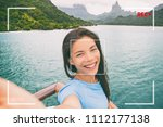 travel tourist woman vlogging... | Shutterstock . vector #1112177138