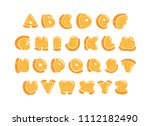 alphabet with cute orange...   Shutterstock .eps vector #1112182490