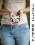 woman hand holding little... | Shutterstock . vector #1112196500