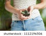 woman hand holding little... | Shutterstock . vector #1112196506