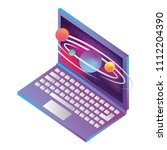 laptop computer with planets... | Shutterstock .eps vector #1112204390